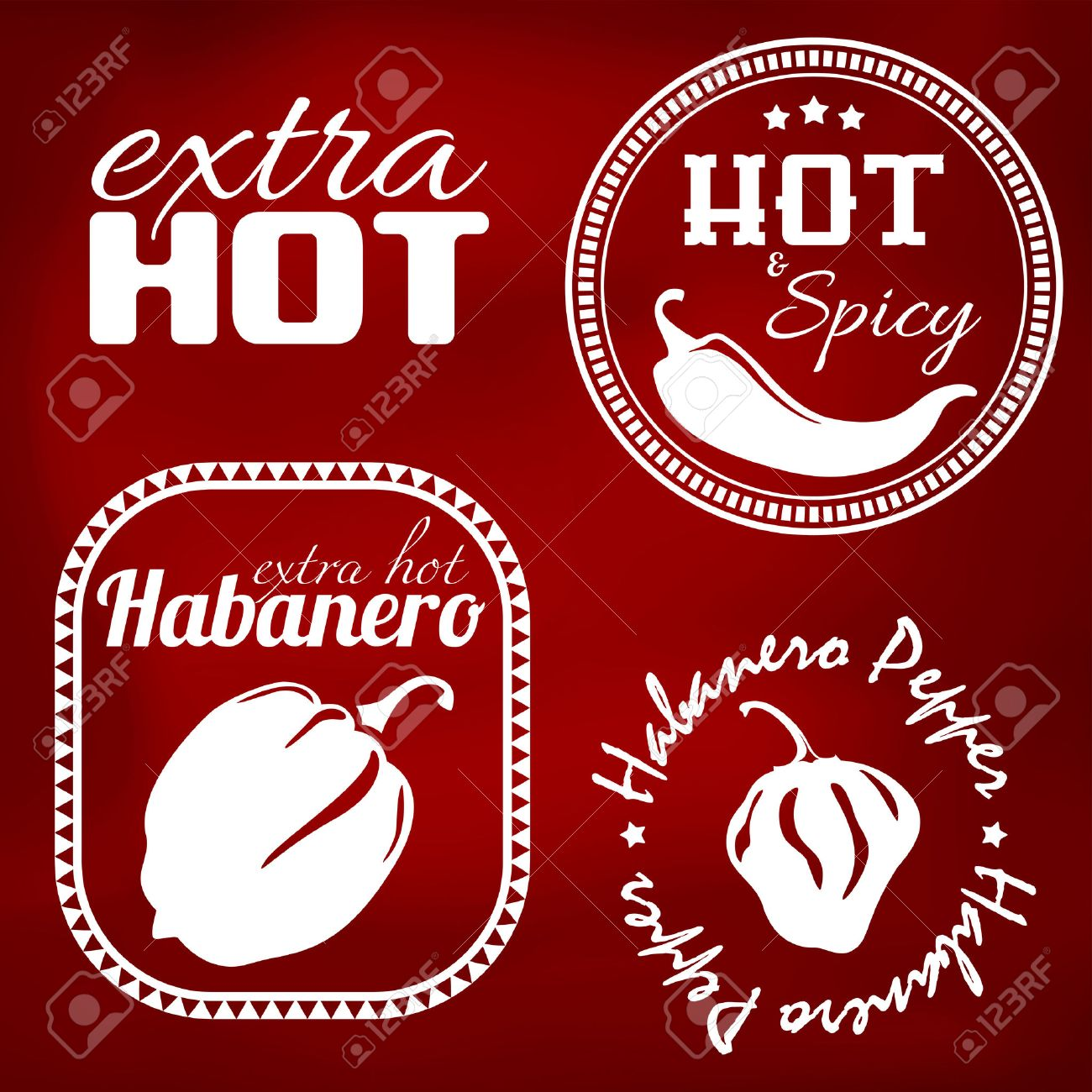 Extra hot chili and habanero pepper labels. Gradient mesh - 23268887