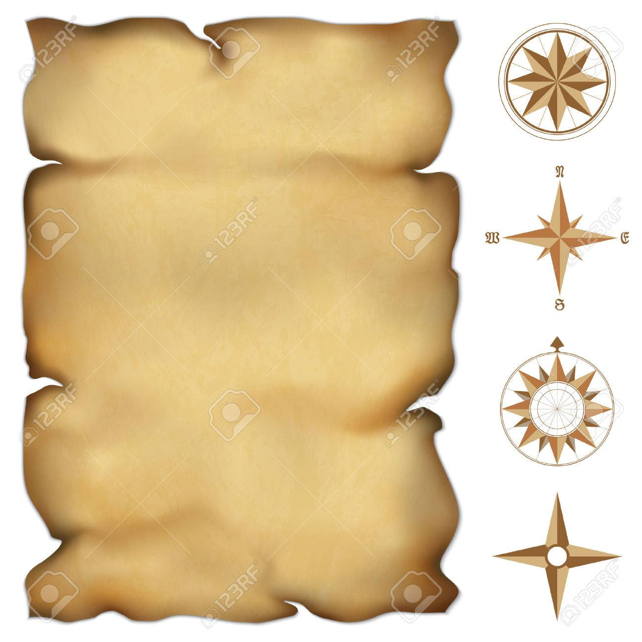 Old parchment map with wind rose compass Highly detailed vector Illustration contains gradient mesh - 23268899