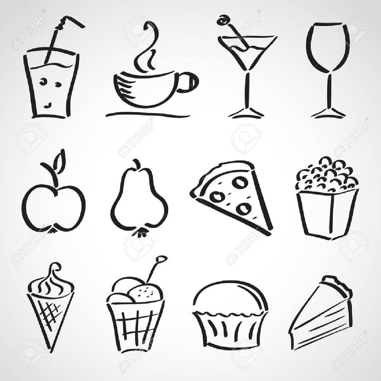 Ink style hand drawn sketch set - food, drinks, ice cream - 23545370