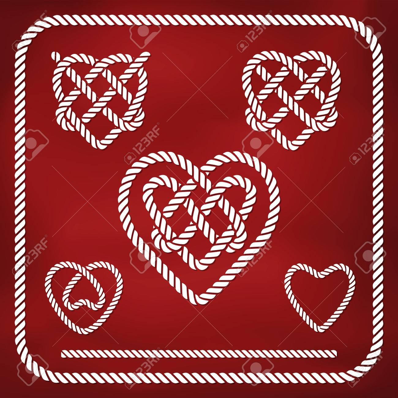 Heart shape rope knots set - 23545458