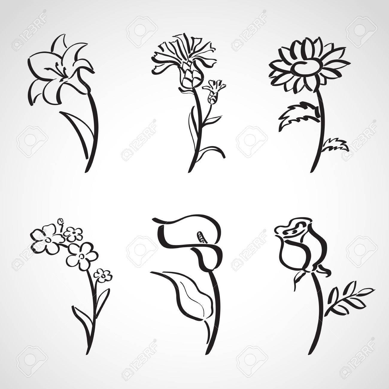 Ink style hand drawn sketch set - summer flowers - 23869043