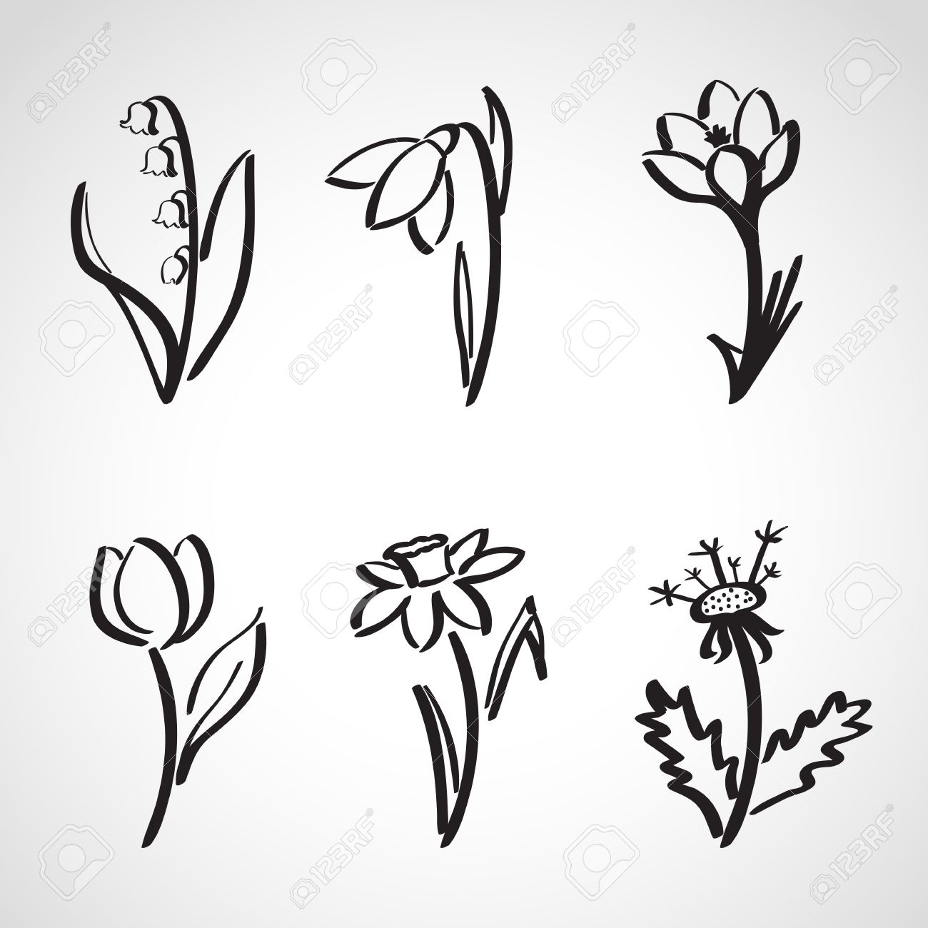 ink style hand drawn sketch set spring flowers royalty free