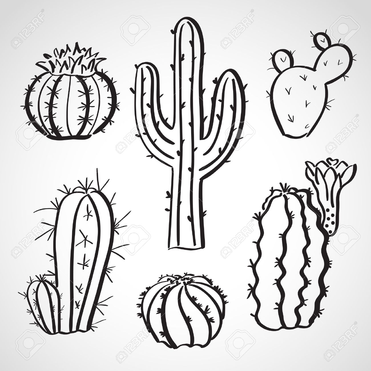 Ink style hand drawn sketch set - cactus set - 23869045