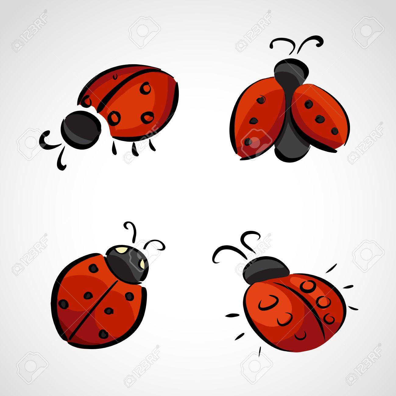 Hand drawn icons set - ladybird (ladybug) - 26056809