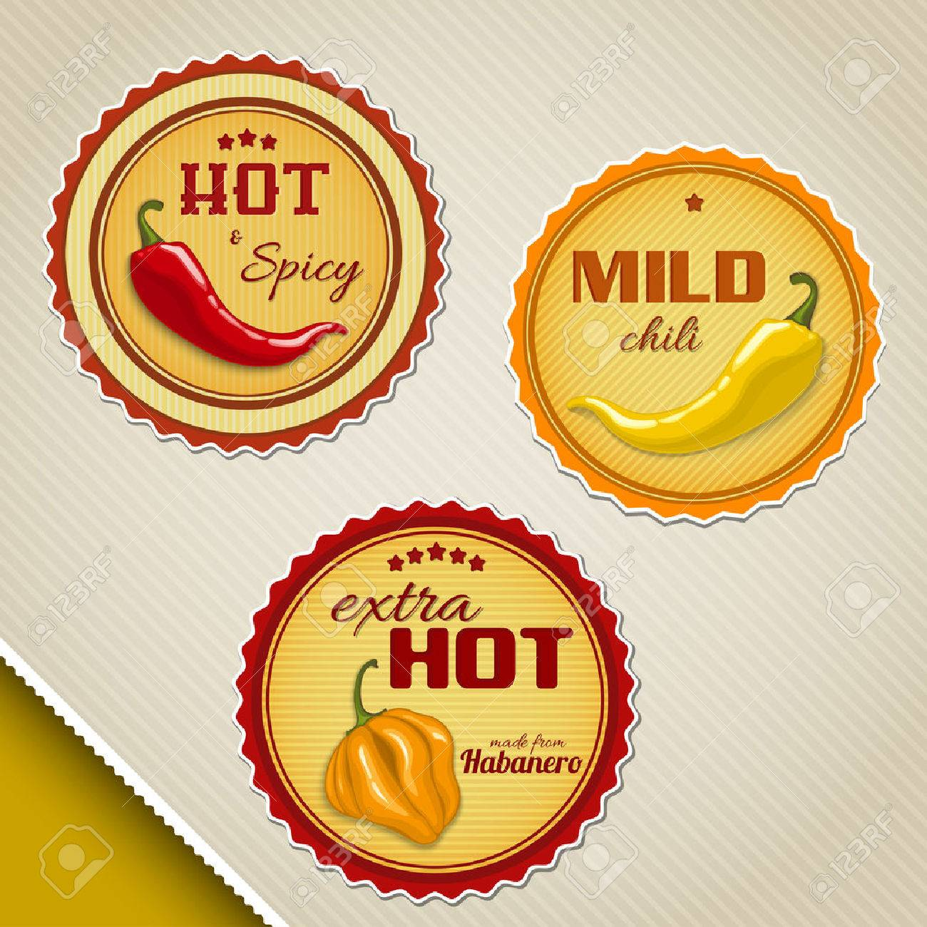 Labels for chili sauses with different peppers - 26546386