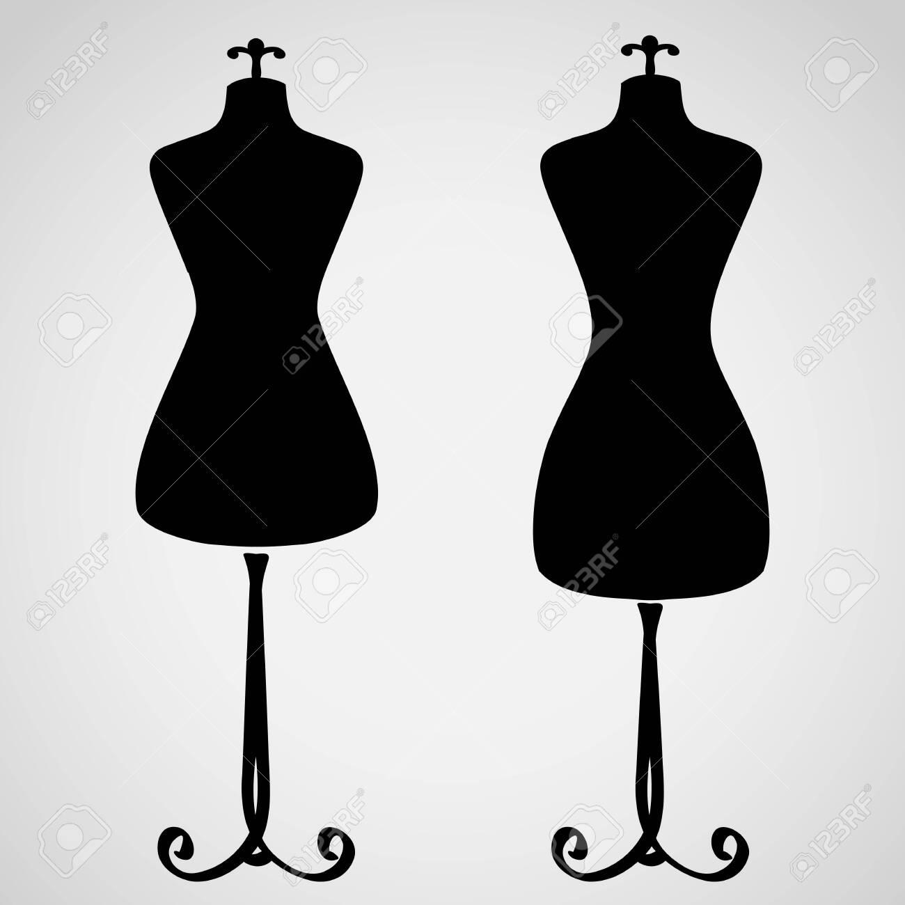 Classic female mannequin silhouette set - 26546391