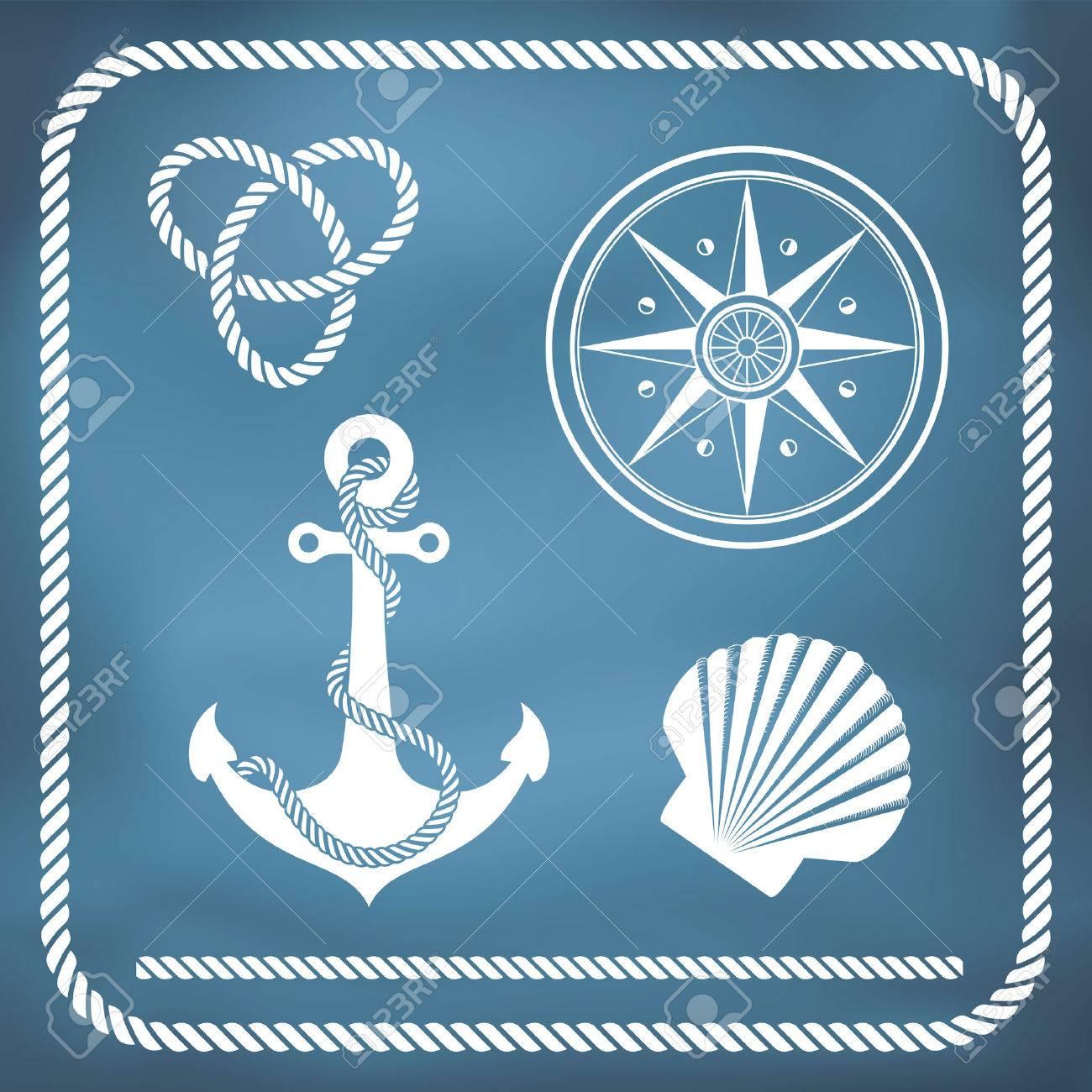 Nautical symbols - compass, anchor, rope knot, shell - 27321453
