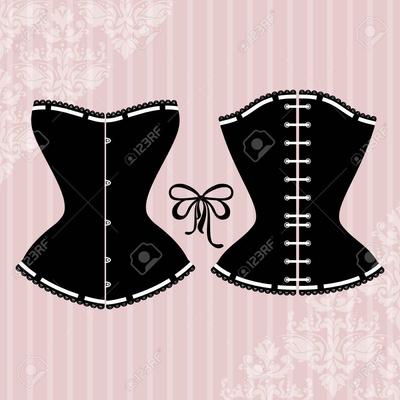 Vintage background with elegant corset silhouette - 29928884