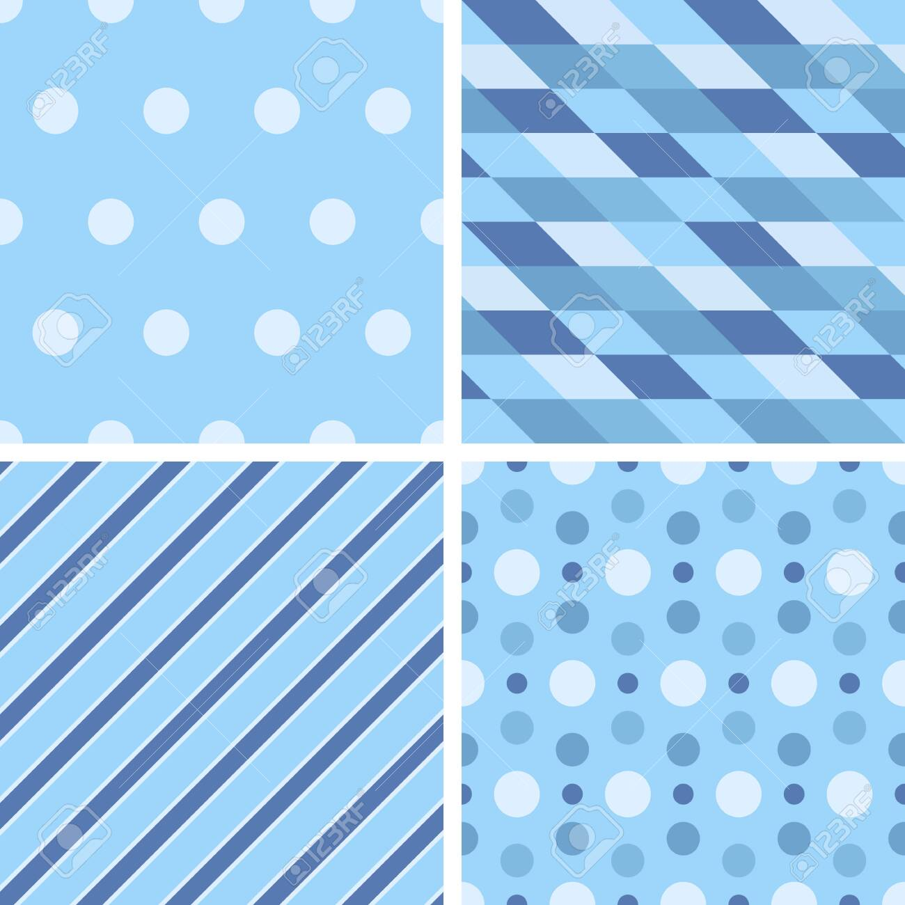 Vector Seamless Tiling Patterns Geometric Blue For Printing