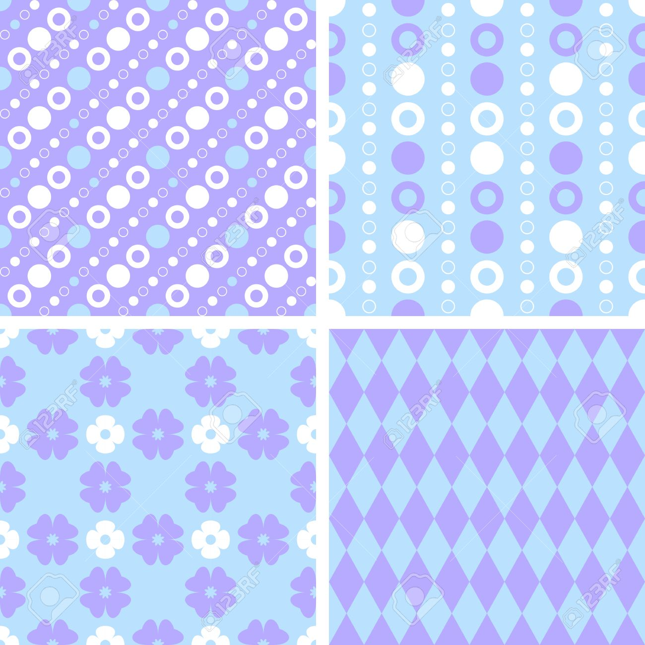 Vector Seamless Tiling Patterns Purple And Blue For Printing