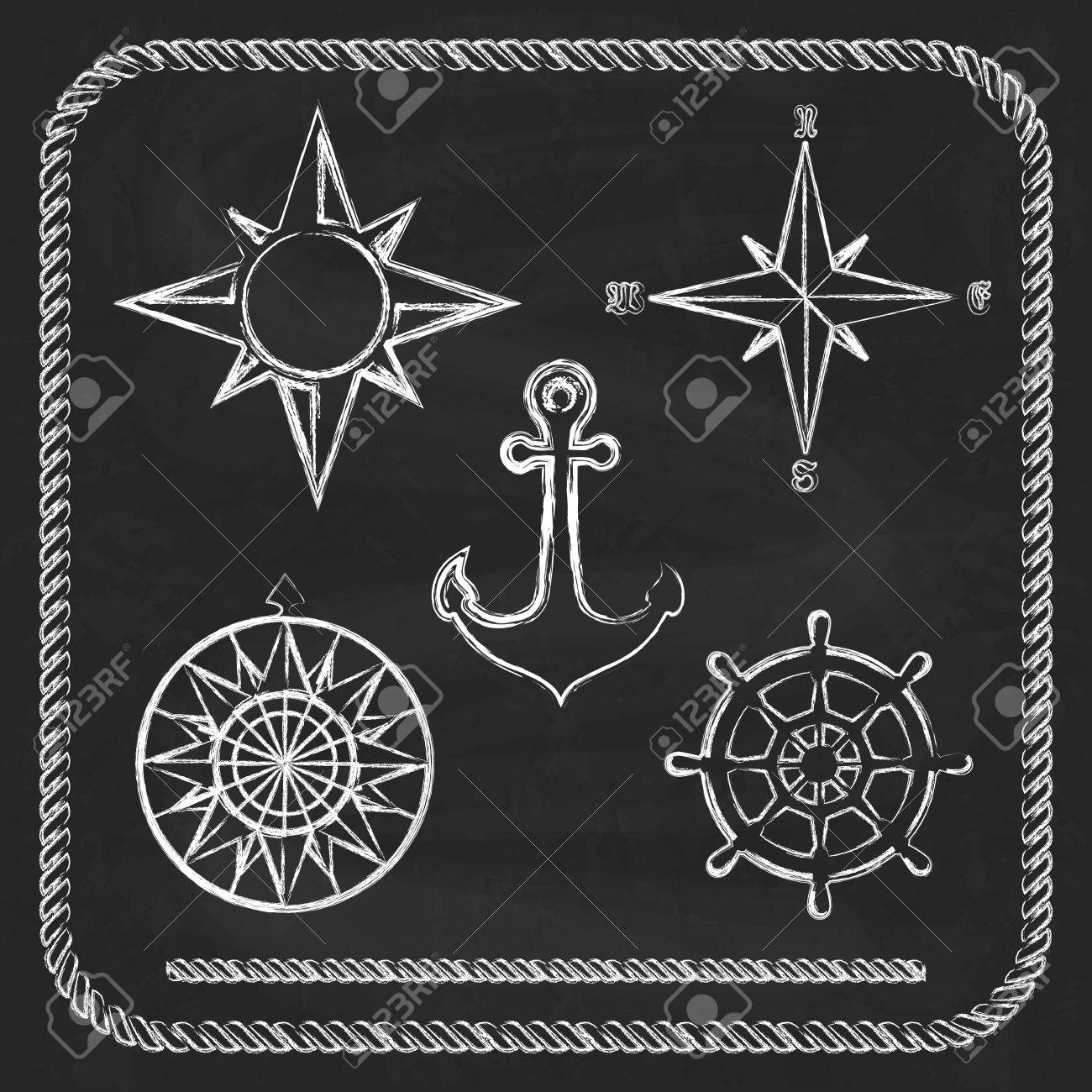 nautical symbols compass anchor on chalkboard background royalty