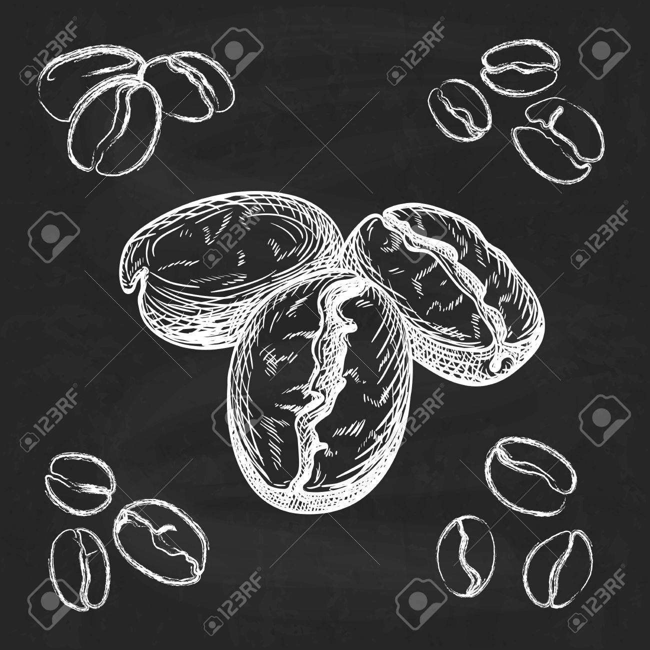 Silhouette hand drawn coffee beans on chalkboard background - 35124695