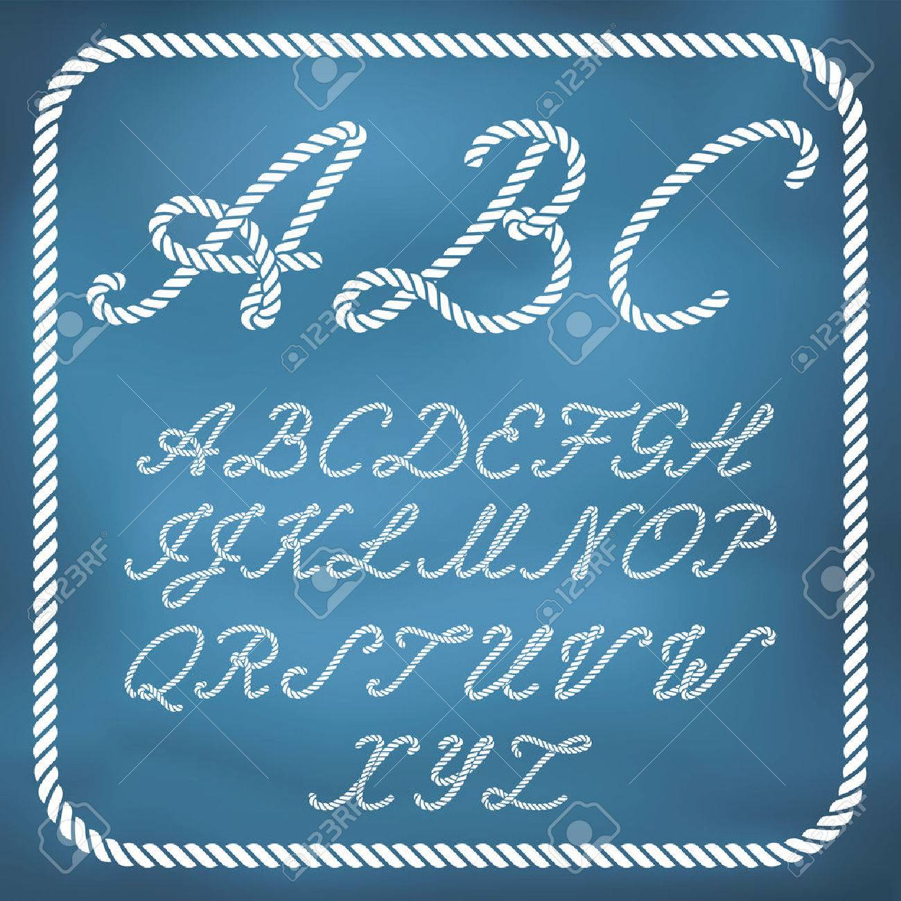 Letters made from nautical rope - hand written font - 42747467