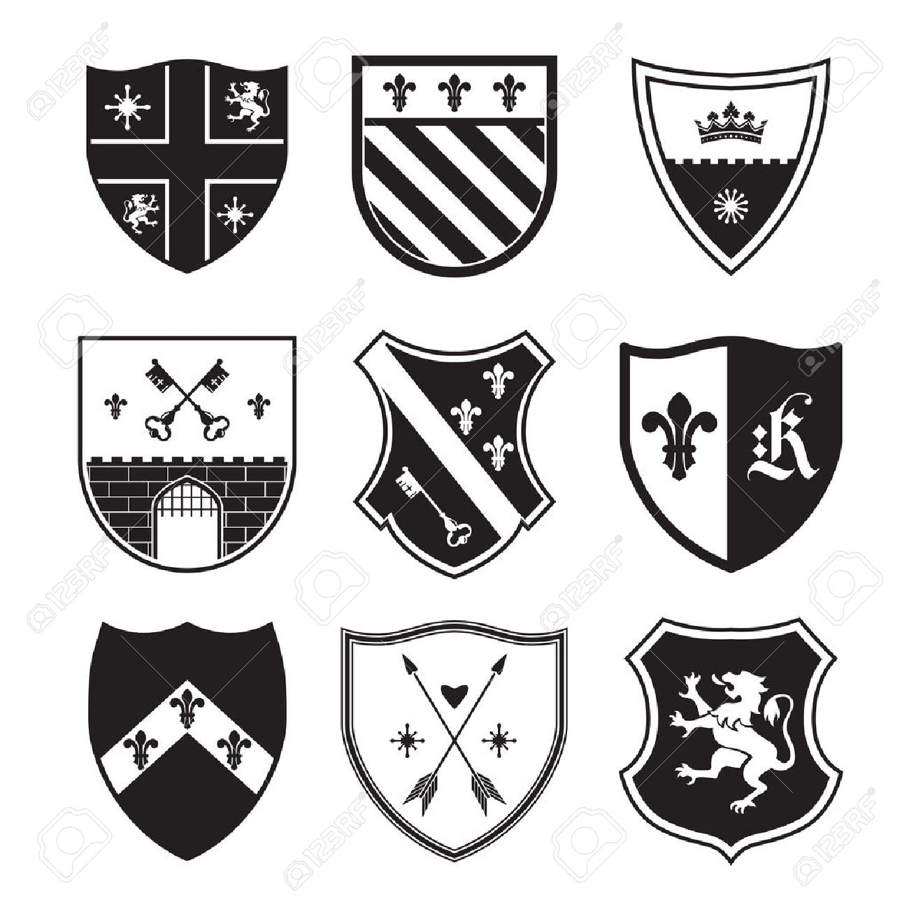 Shield silhouettes for signs and symbols (safety, security, military,