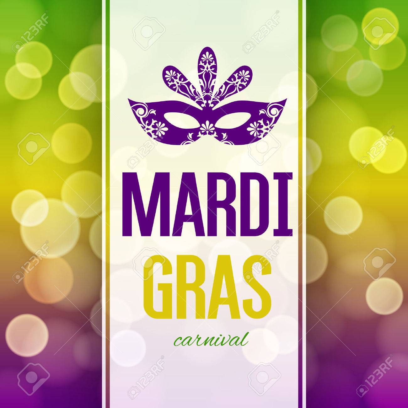 Mardi Gras carnival background with masquerade mask silhouette - 50483611