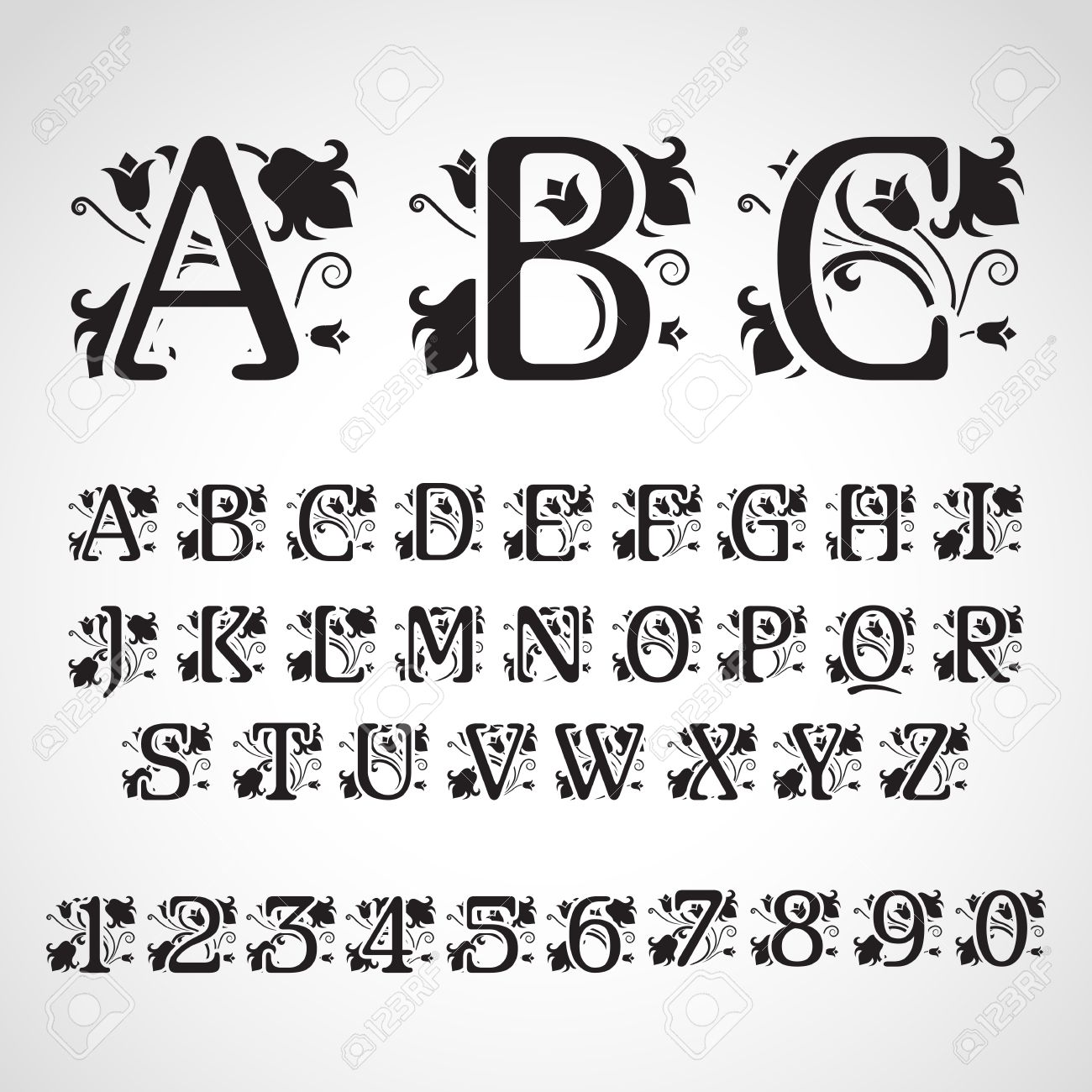 Set Of Vintage Style Initial Letters For Invitation Flayer Cover Greeting Card