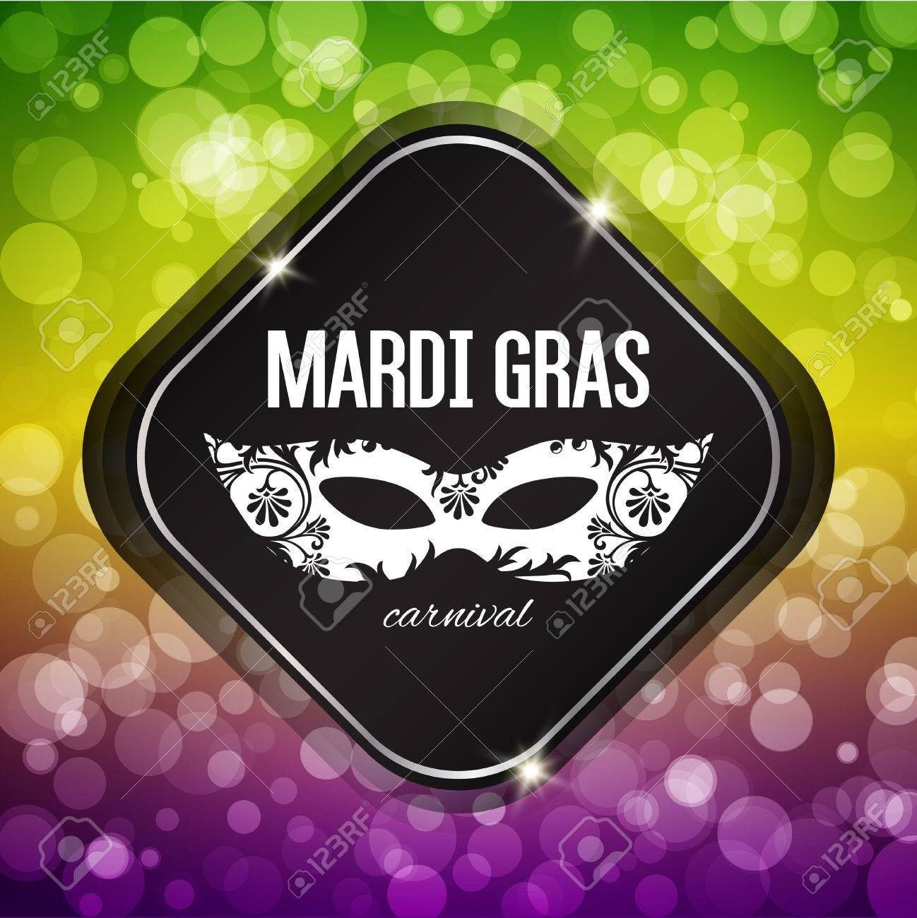 Mardi Gras carnival background with masquerade mask silhouette - 50483262