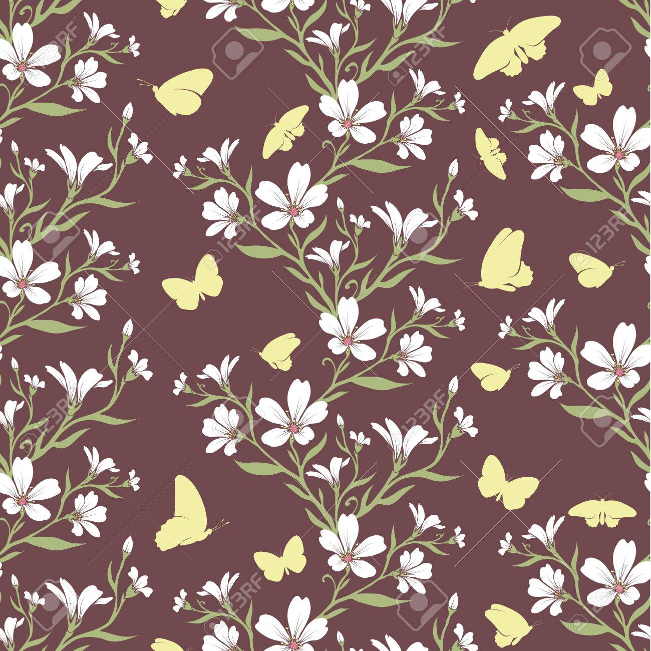 Vector Seamless Tiling Pattern Romantic Flowers For Printing On