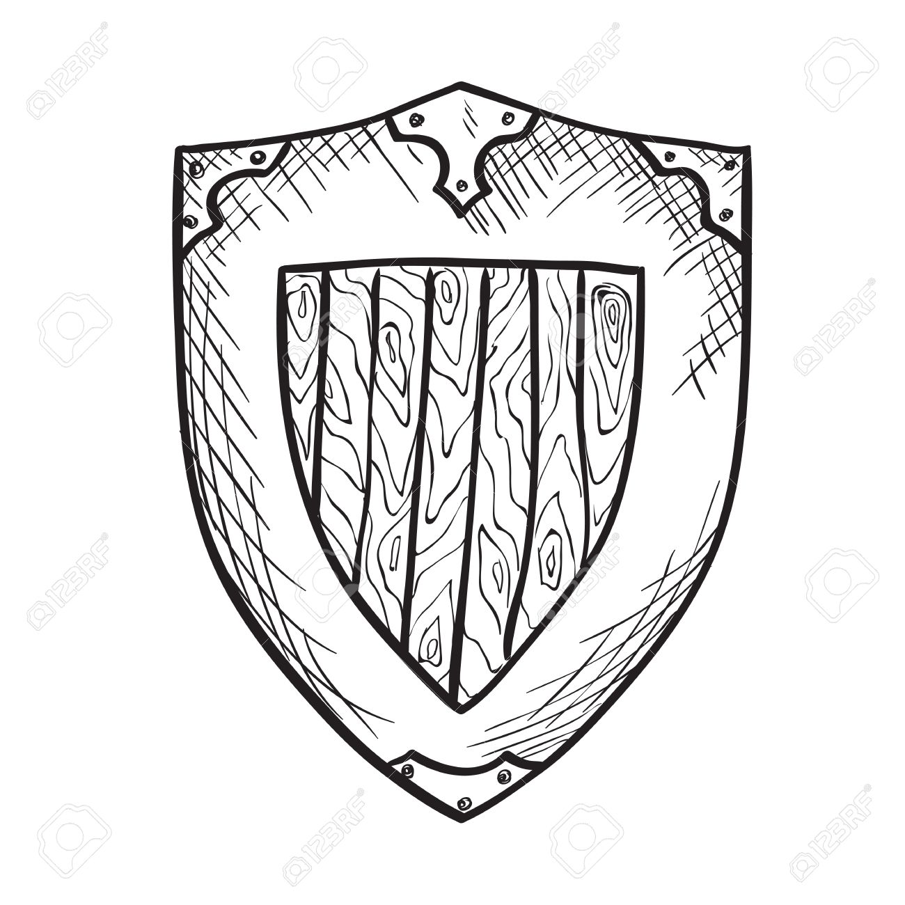 Hand Drawn Sketch Medieval Shield, Ink Drawing Imitation Royalty ...