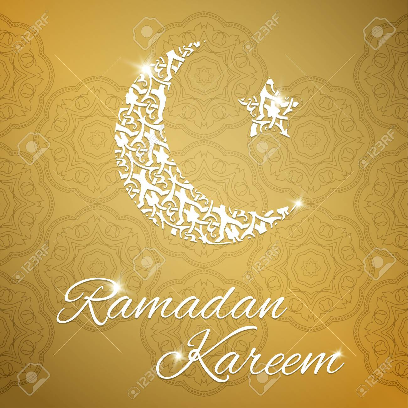 Ramadan kareem greeting card with half moon and star gold color ramadan kareem greeting card with half moon and star gold color vector illustration stock vector m4hsunfo