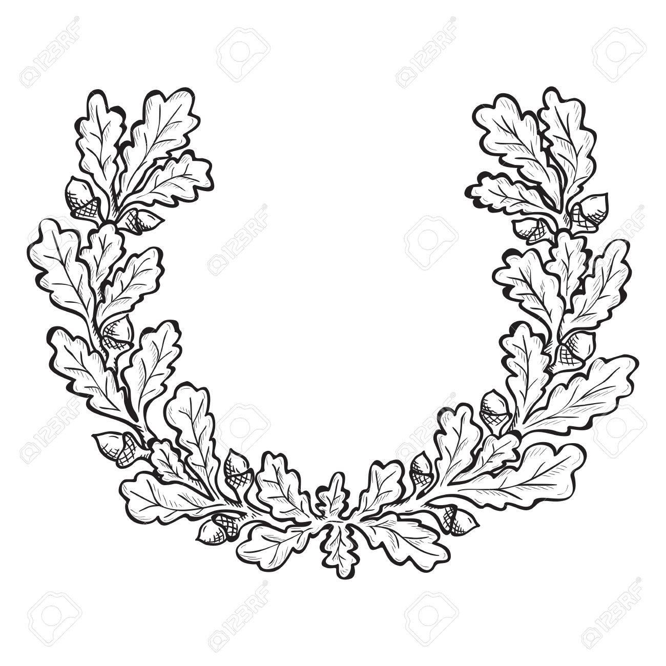 artistic hand drawn illustration of oak wreath ink drawing
