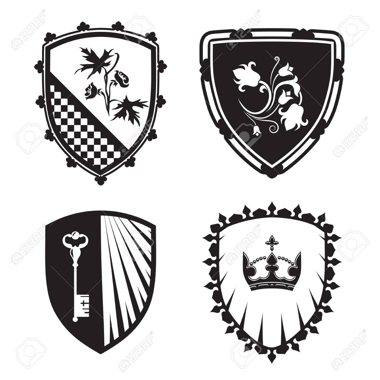 Coat Of Arms Shield Silhouettes With Crown Key Flowers For
