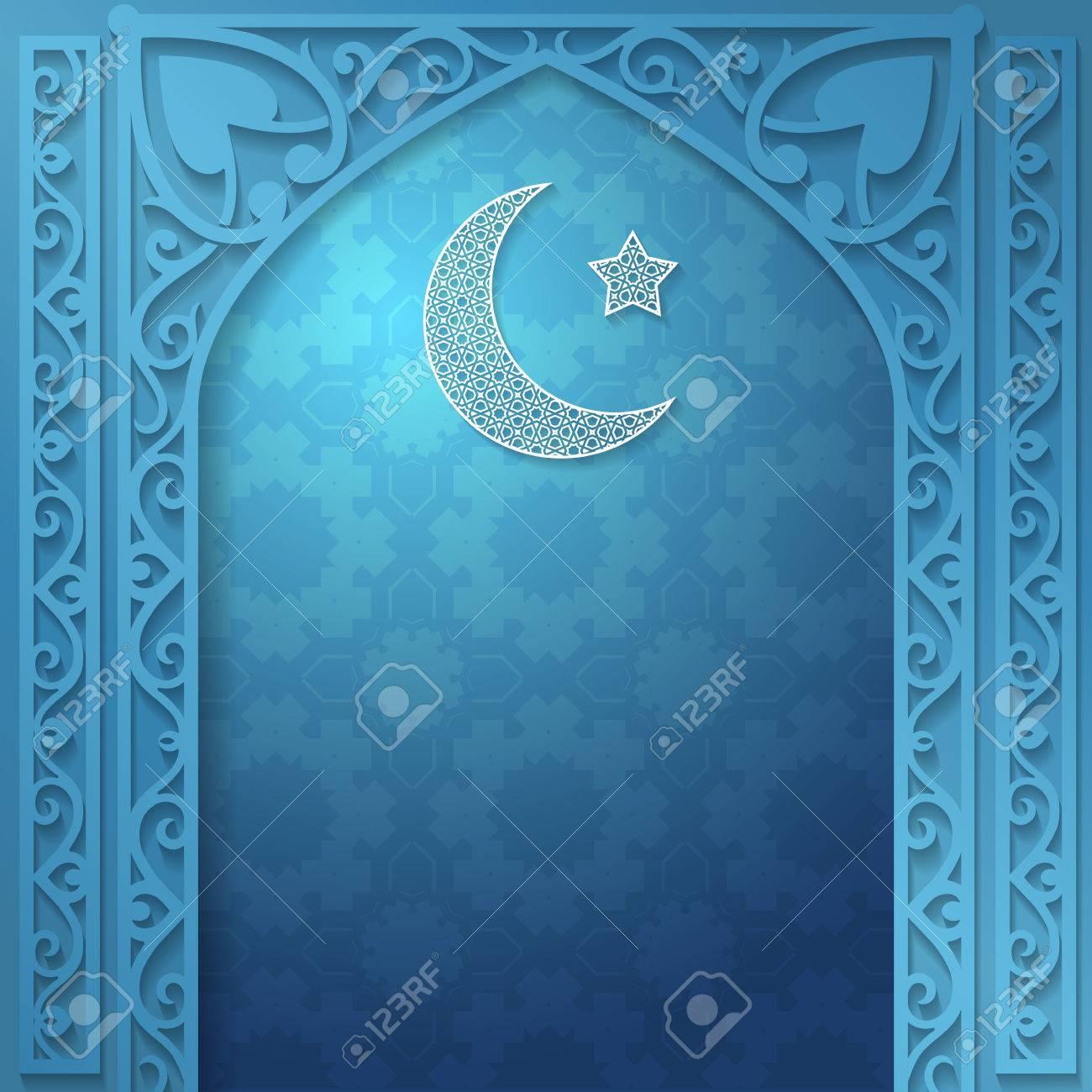 e9caa2602b1a50 Vector - Vector islamic ethnic invitation design or background. Blue color