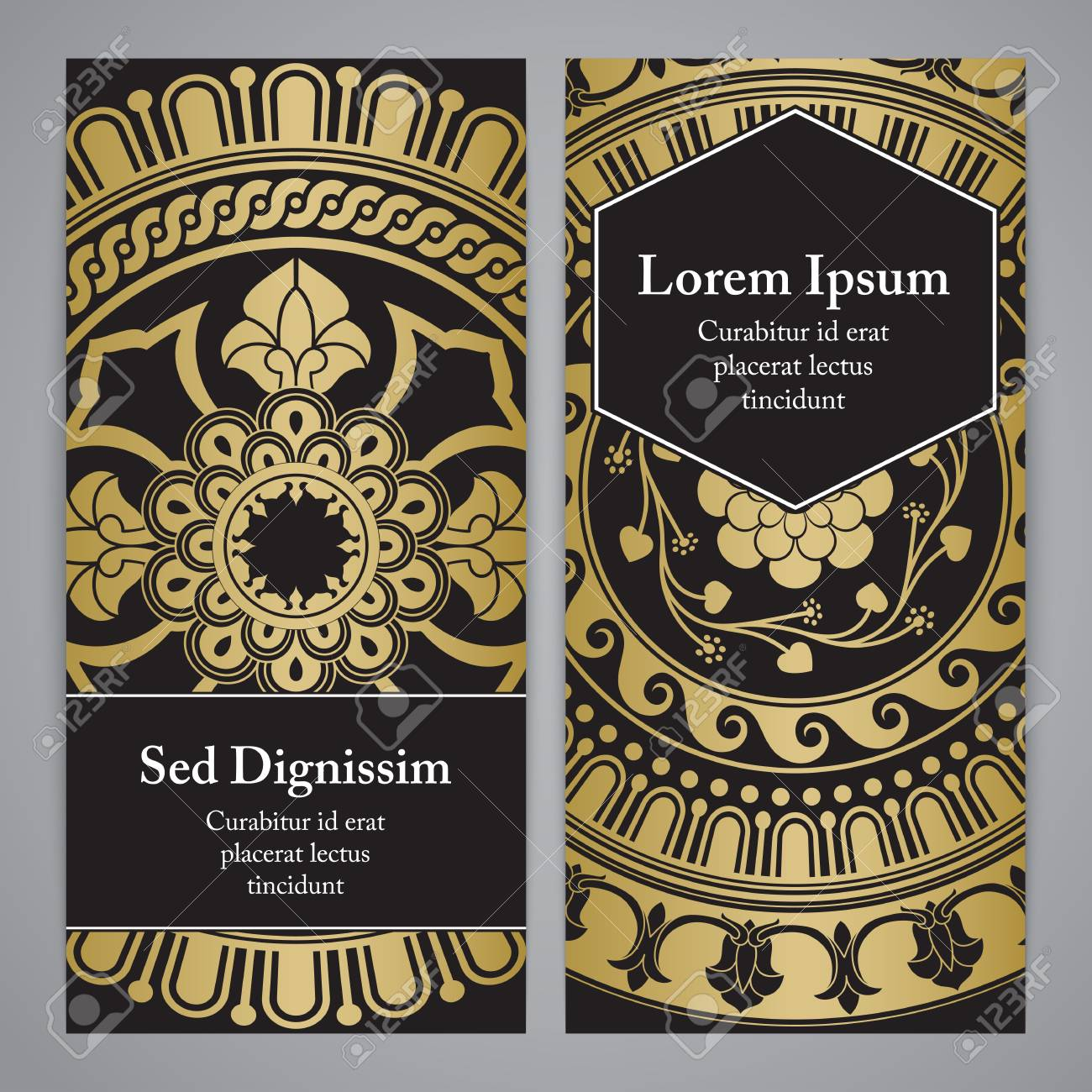 vector vector flyers with mandala in black gold and white colors based on ancient greek islamic and turkish ornaments for invitation banner postcard
