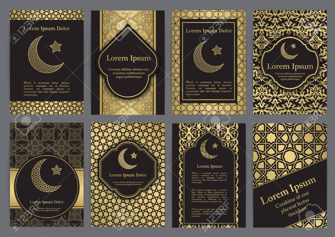Vector islamic ethnic invitation design or background gold and vector vector islamic ethnic invitation design or background gold and black colors stopboris Images