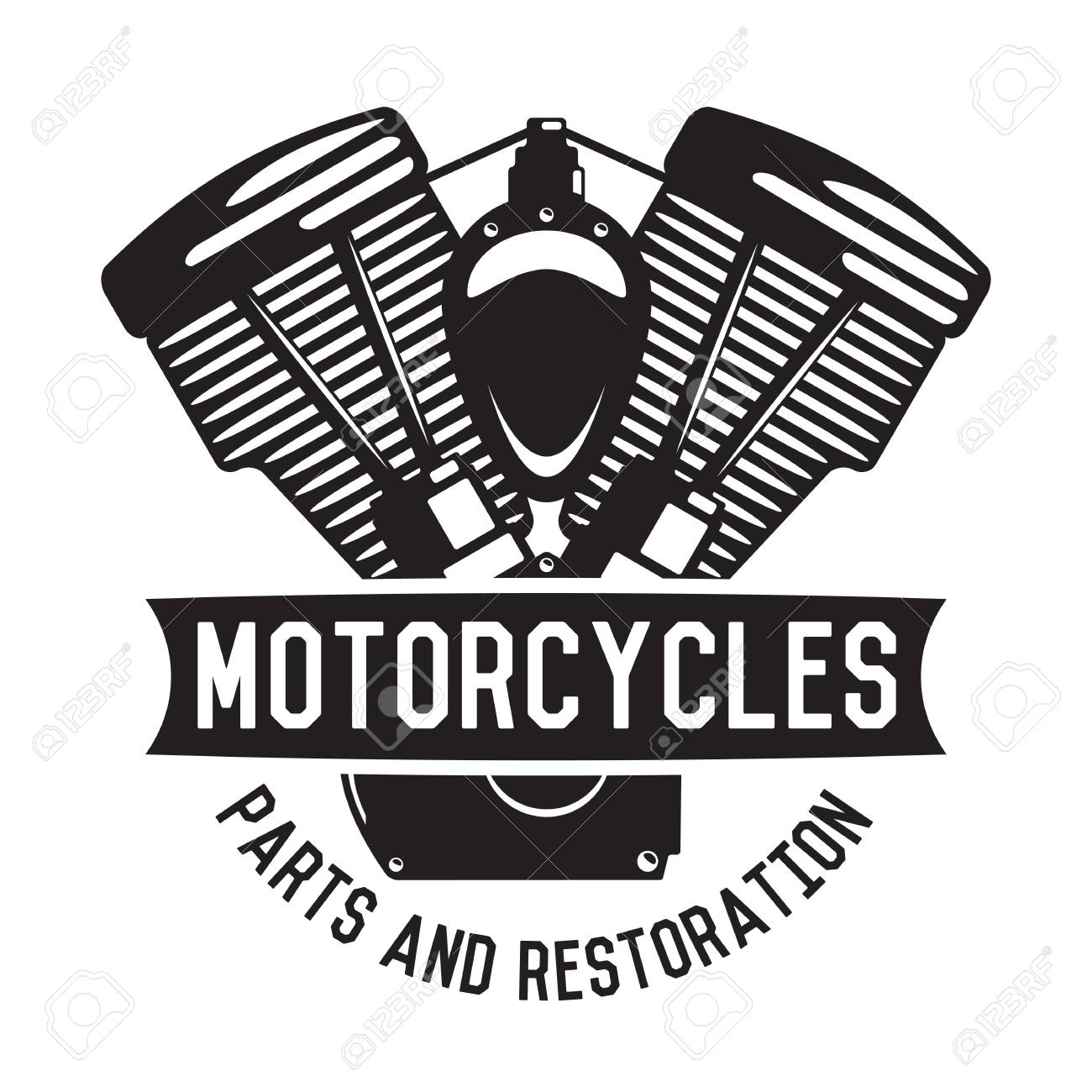 Motorcycle Emblem In Monochrome Silhouette Style Logo With Motor