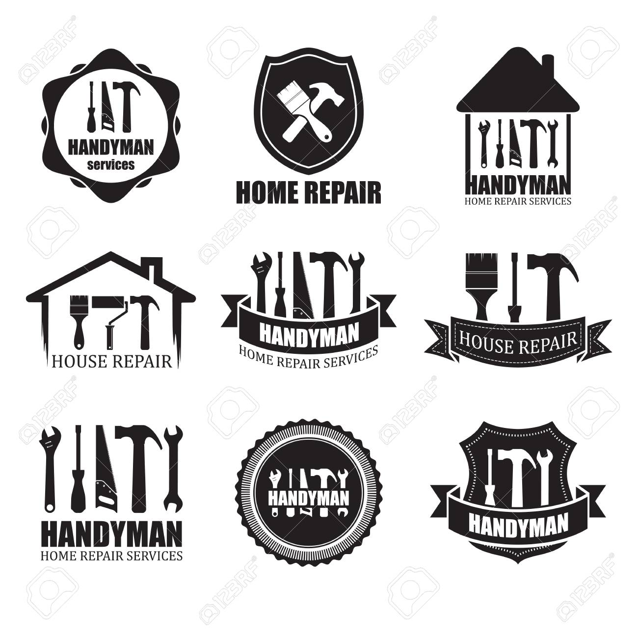 Set of different handyman services icons, isolated on white background. For logo, label or banner - 83014052