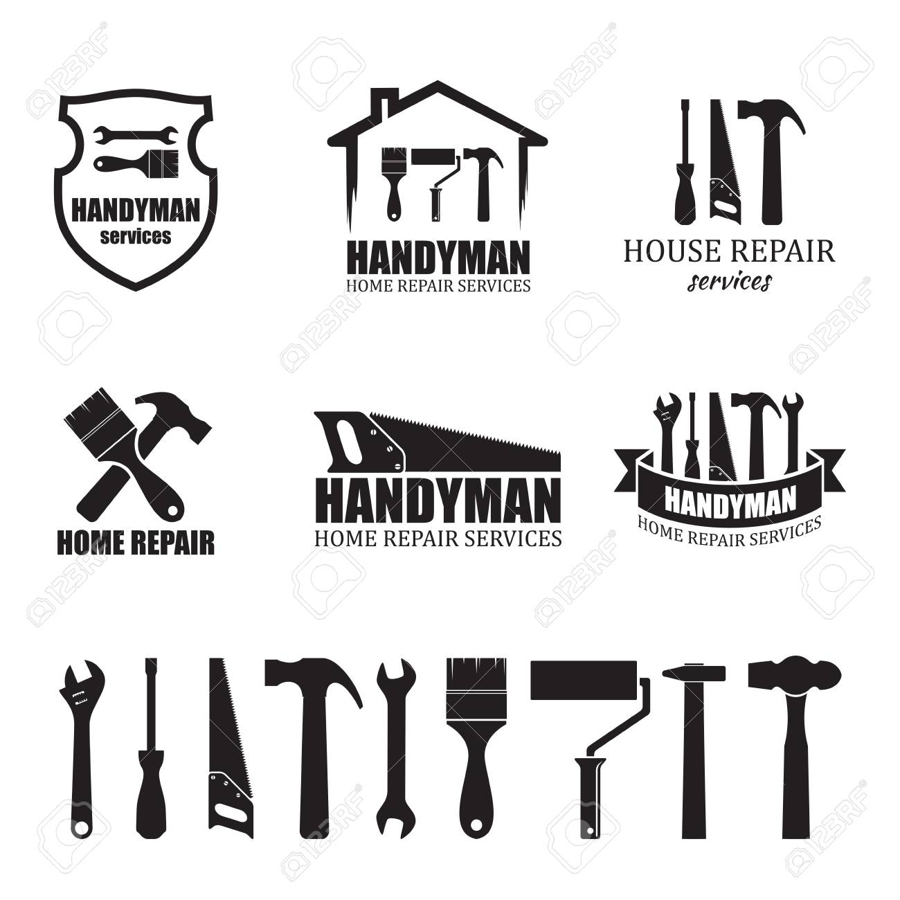 Set Of Different Handyman Services Icons Isolated On White Background Royalty Free Cliparts Vectors And Stock Illustration Image 103863878
