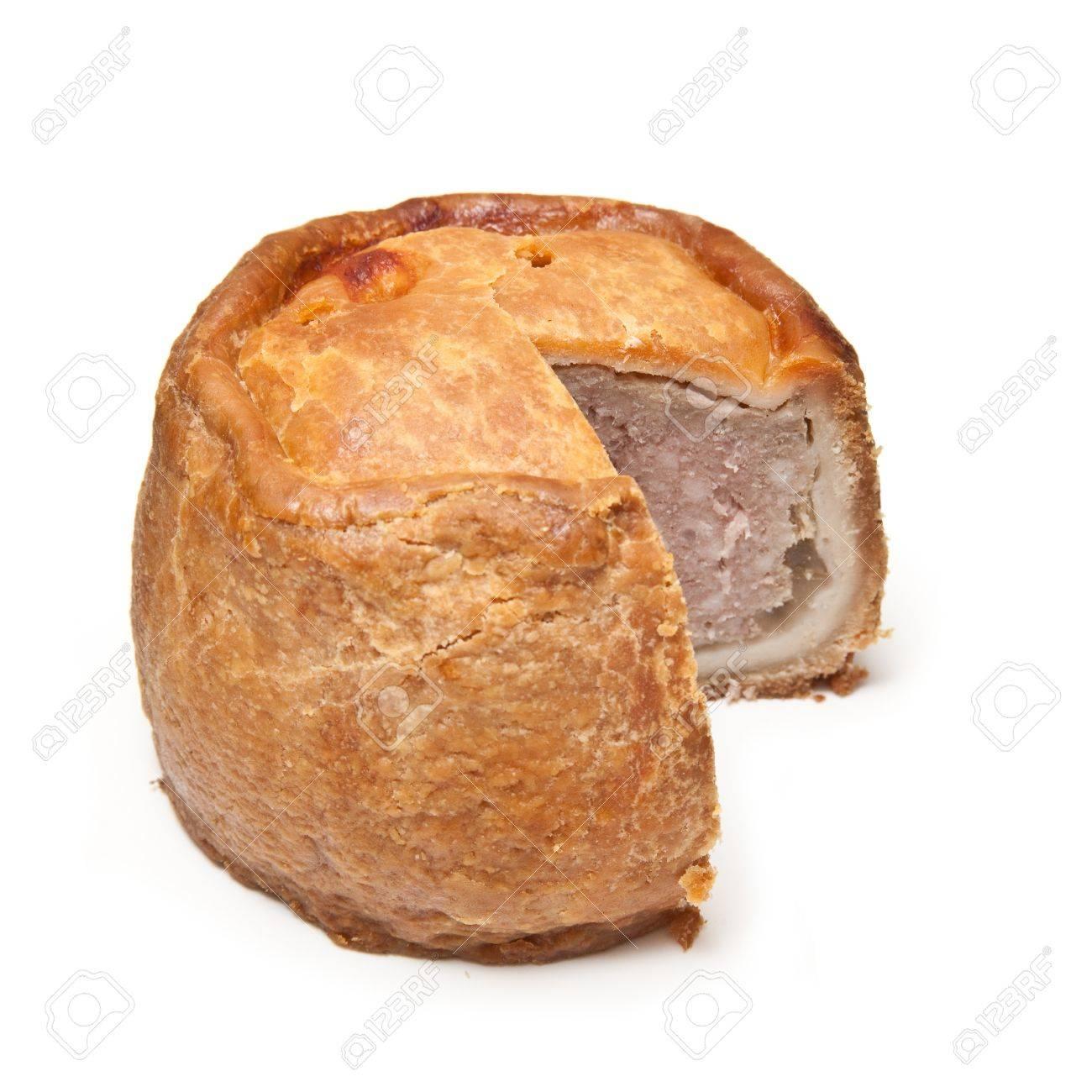 Melton Mowbray pork pie  isolated on a white studio background. Stock Photo - 16538432
