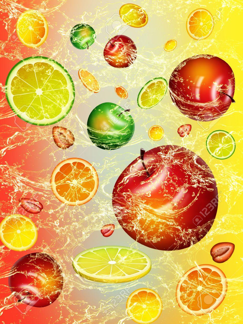 Fresh fruit wallpaper - Wallpaper With Fresh Fruit Stock Photo 9970719