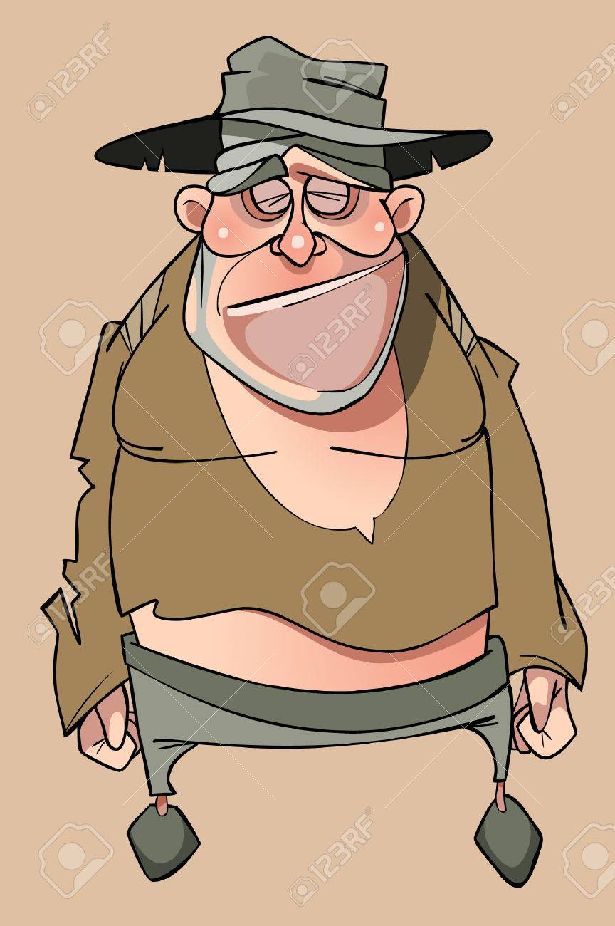 cartoon sad homeless man in tattered clothes royalty free cliparts