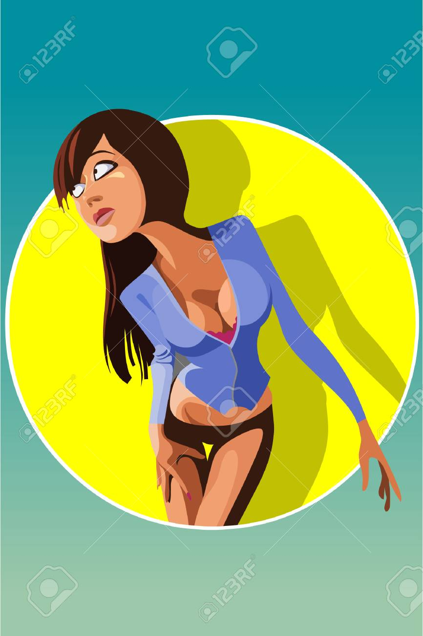 Dessin Anime Sexy dessin animé sexy femme brune dans le cercle logo clip art libres de