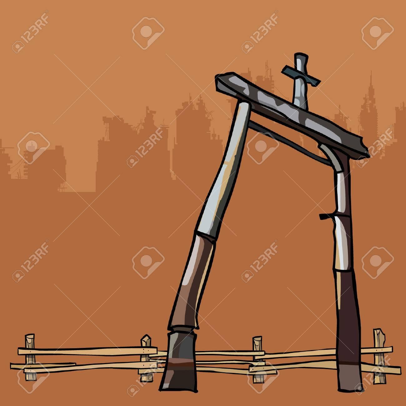 Dilapidada Estructura Antigua De Postes Y Valla De Madera ...