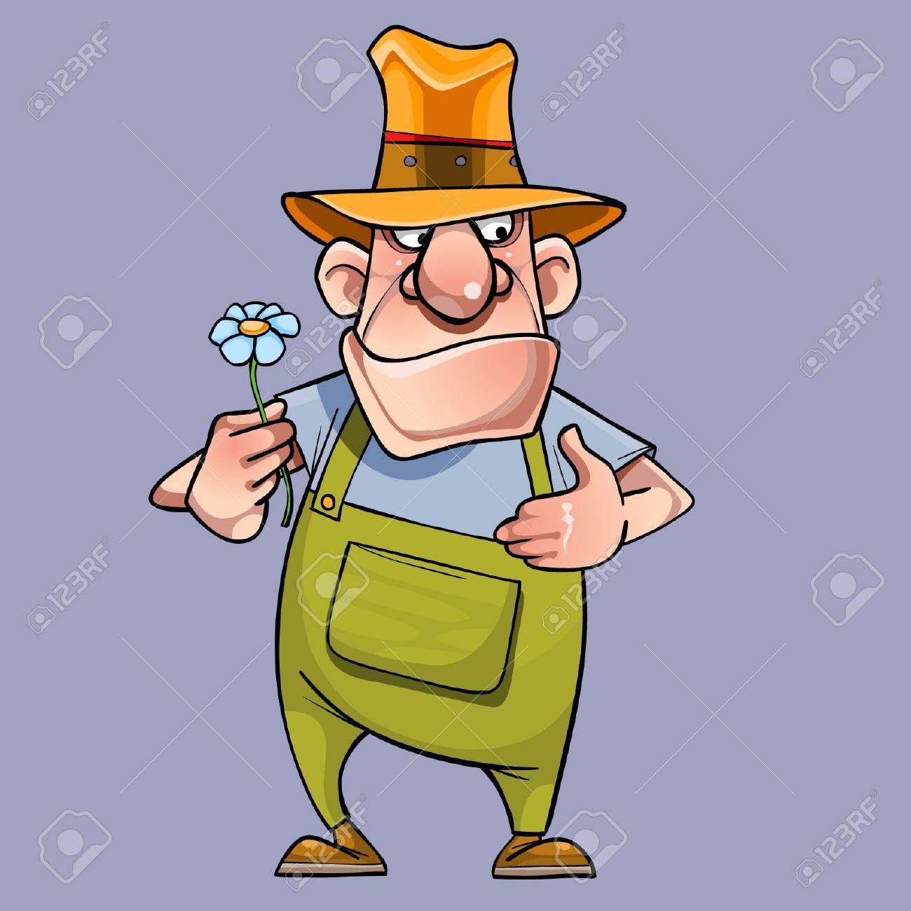 Dessin Anime Male Jardinier Avec Une Fleur Dans Sa Main Clip Art