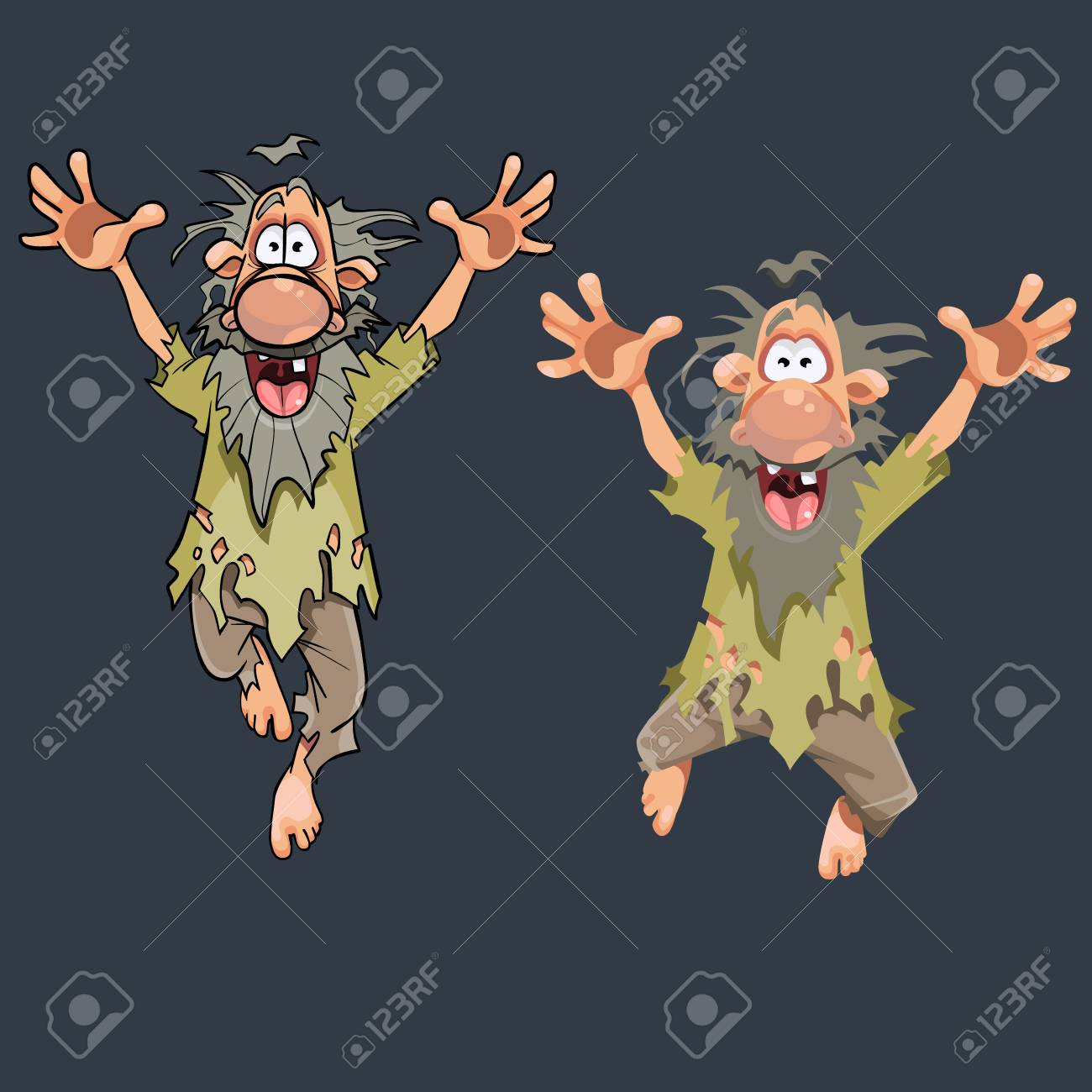 Cartoon funny man in ragged clothes jumping in different poses. - 92249570