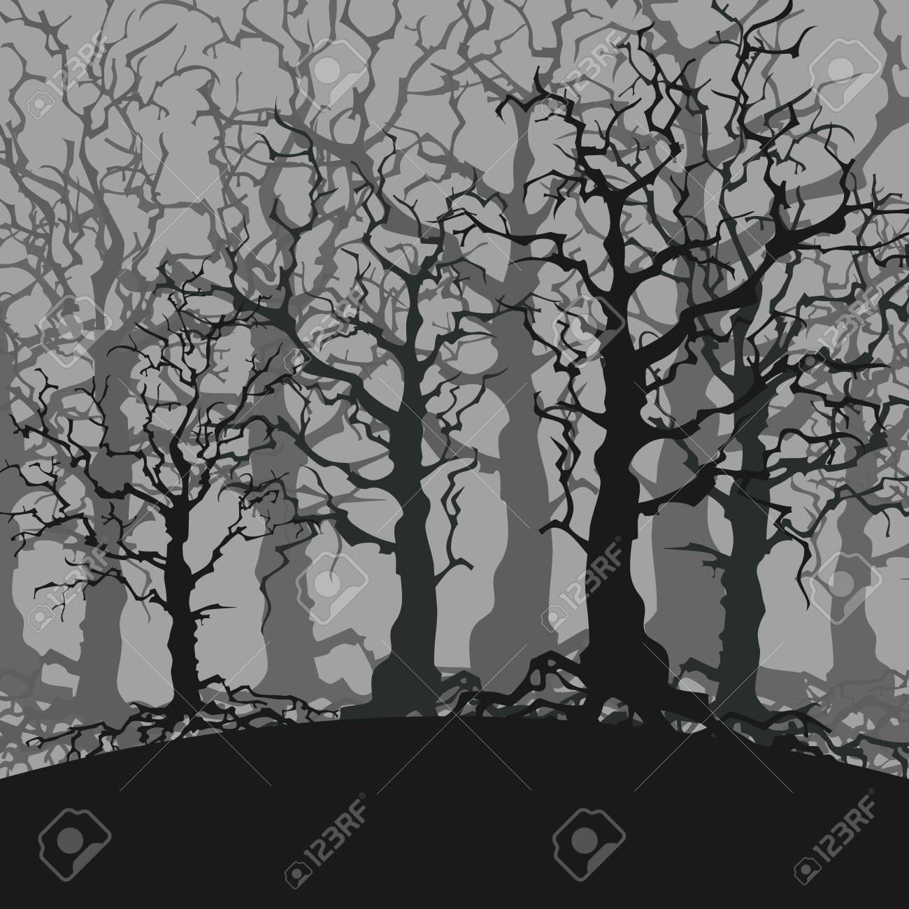 Cartoon Gloomy Dark Forest Background Of Trees Without Leaves