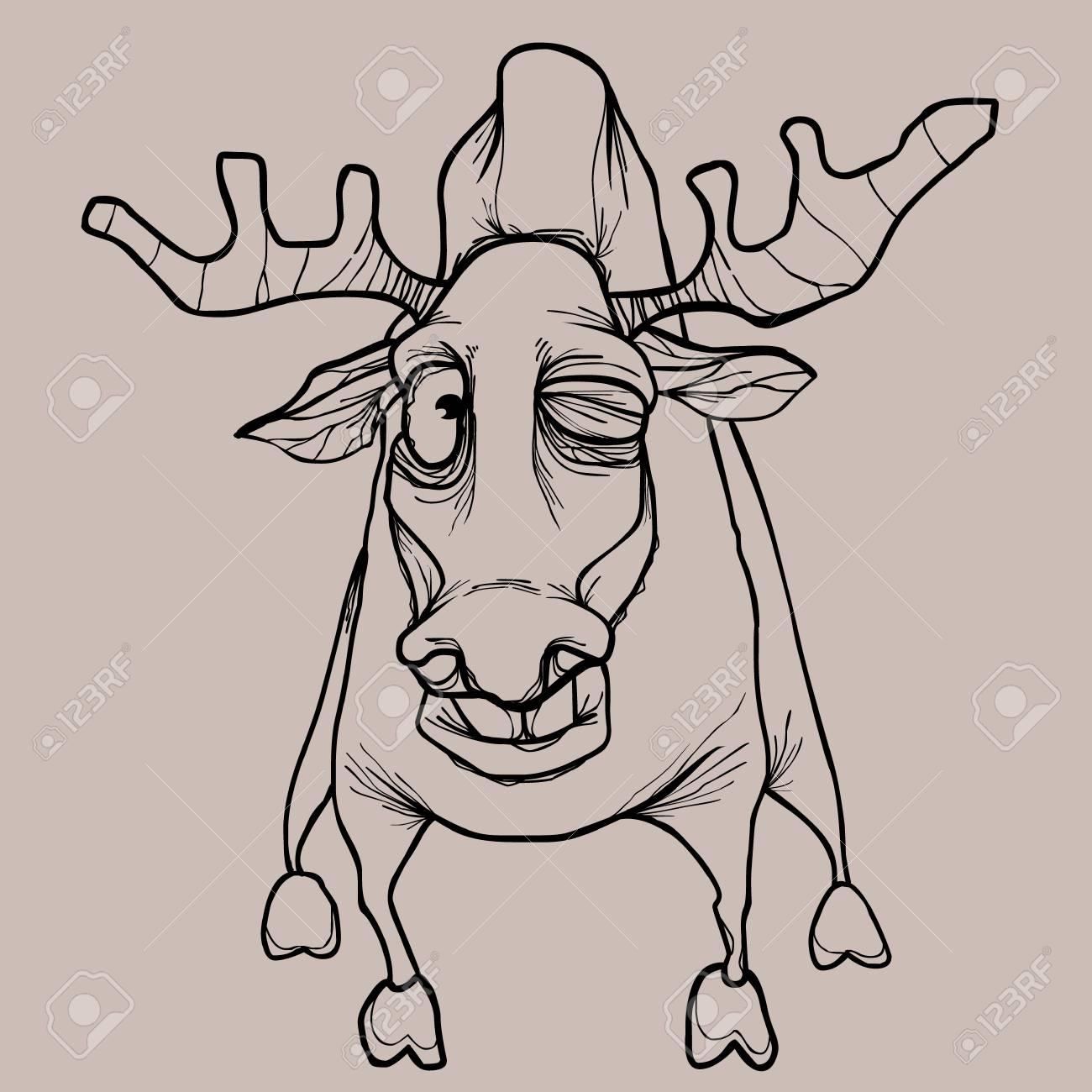 Cartoon Scotch Seche Attaque Biche Dessin Crayon Dans Des Couleurs Monochromes Clip Art Libres De Droits Vecteurs Et Illustration Image 98436783