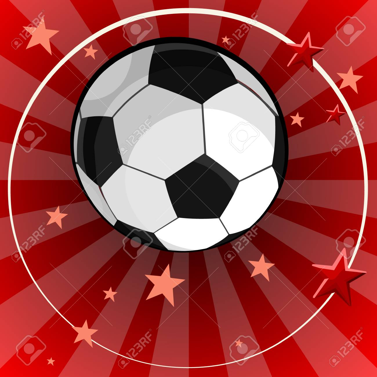83e0289b796aad soccer ball on red striped background with stars Stock Vector - 104241978