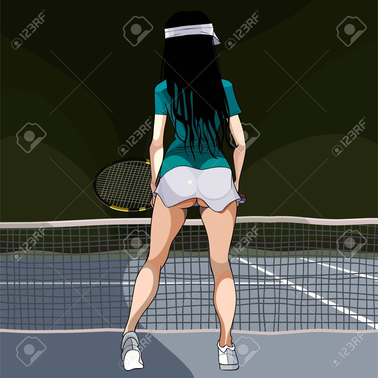 cartoon woman in clothes playing tennis standing back - 122701806
