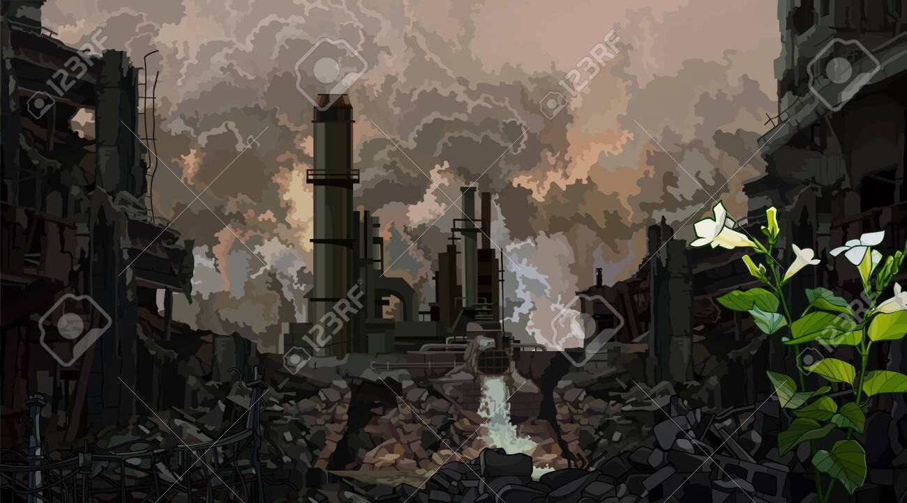 dark background of post-apocalyptic industrial ruins with a sprouted green plant - 122699522