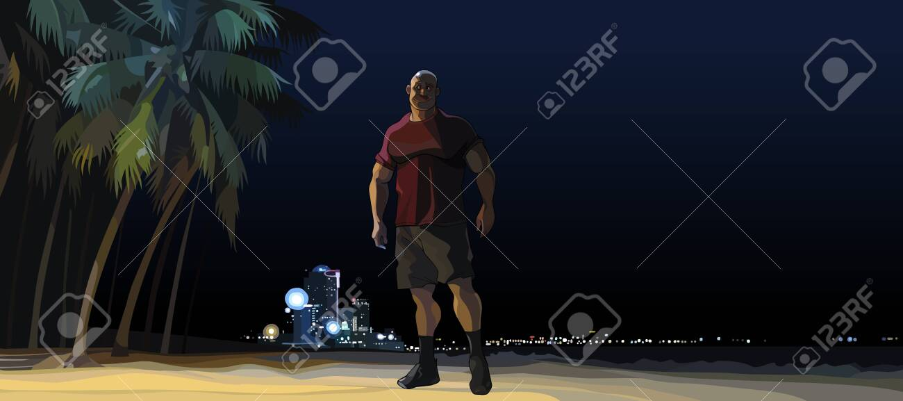 cartoon muscular man standing at night on city beach - 146888607