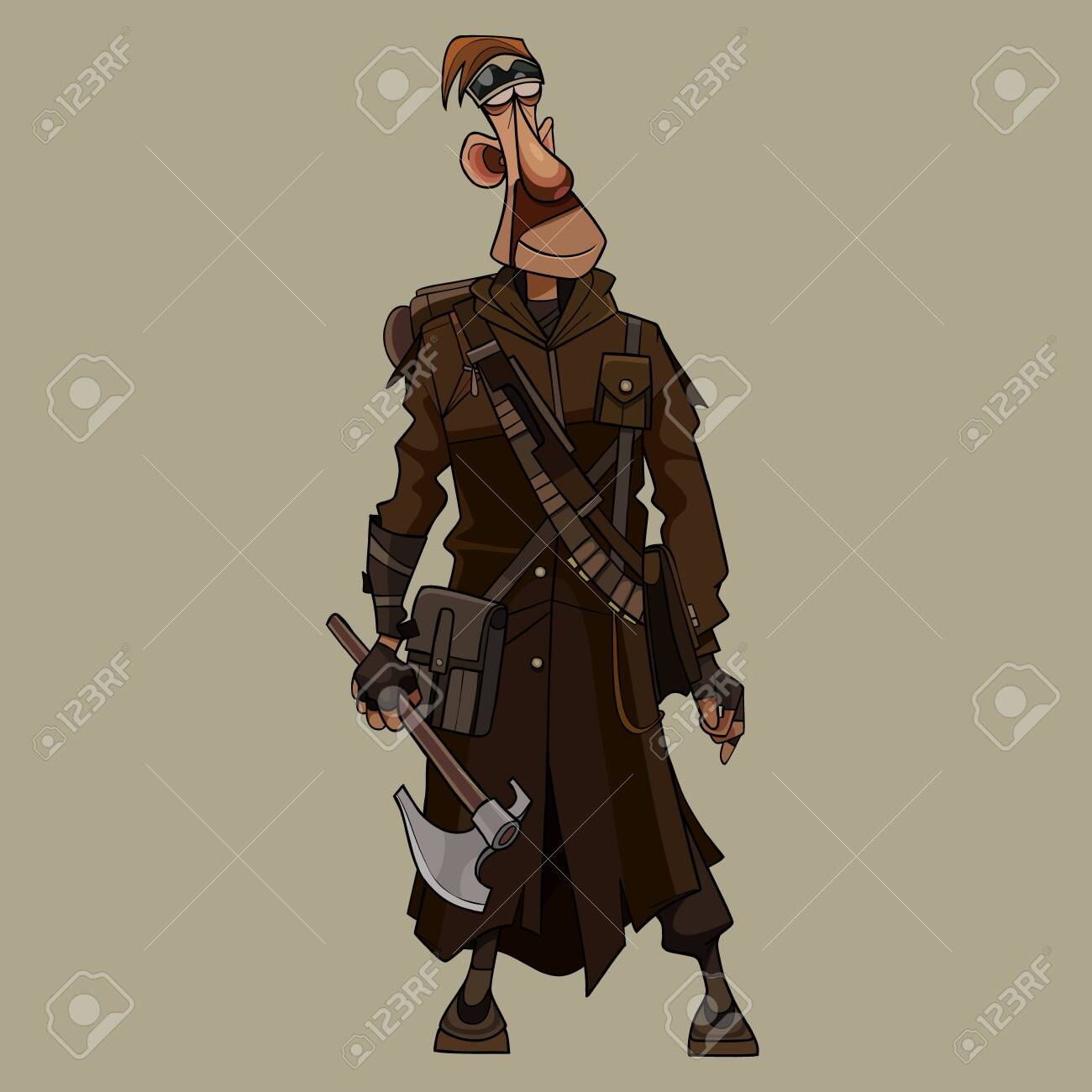 funny cartoon man in overcoat post apocalypse stands with an ax in hand - 146965314