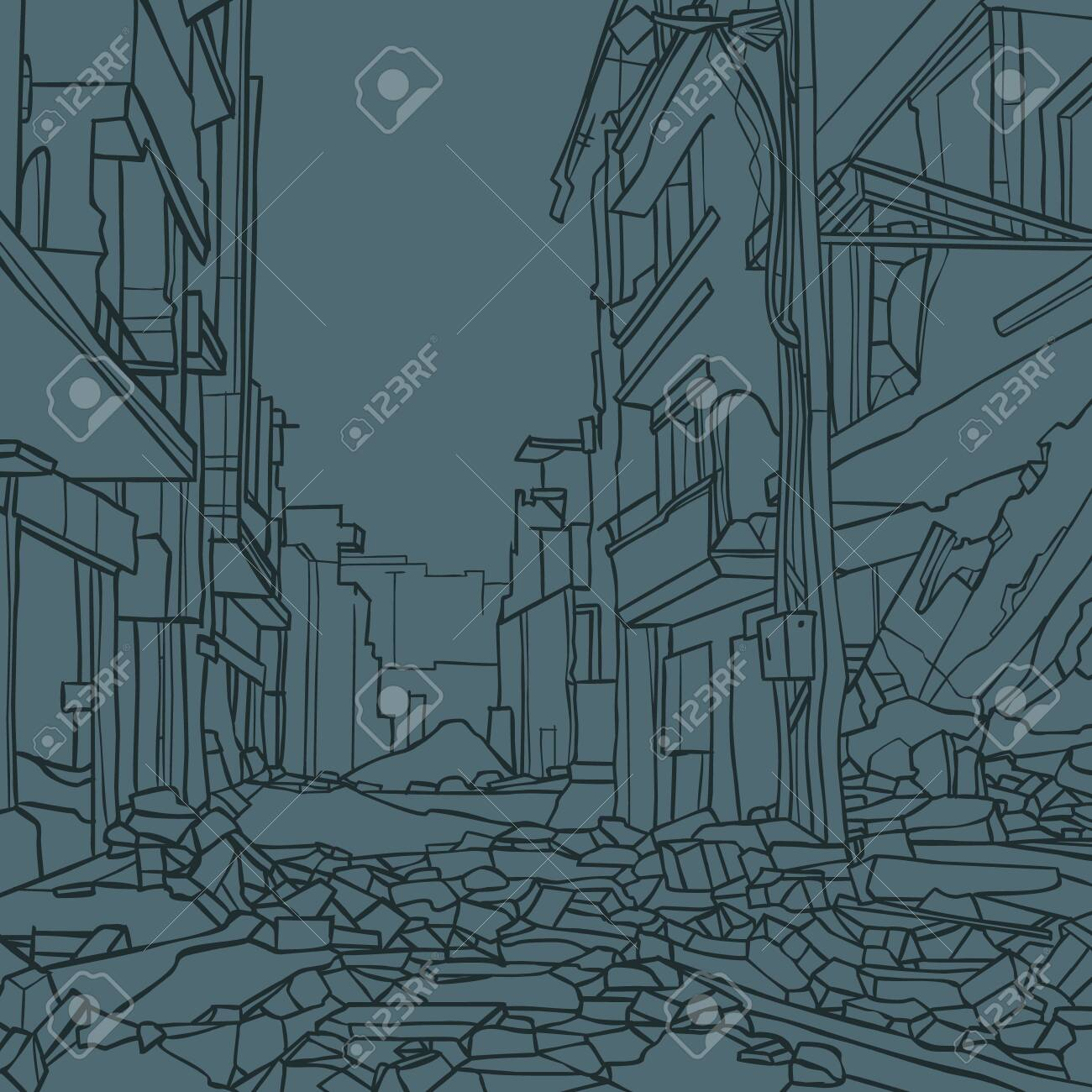 contour drawing of city street with dilapidated houses in ruins - 146965319
