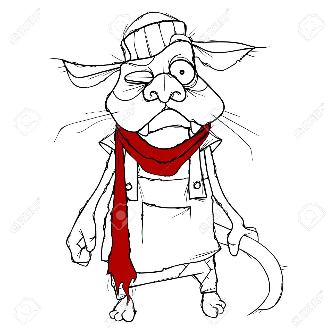 cartoon puzzled cat in clothes with red scarf - 146803230