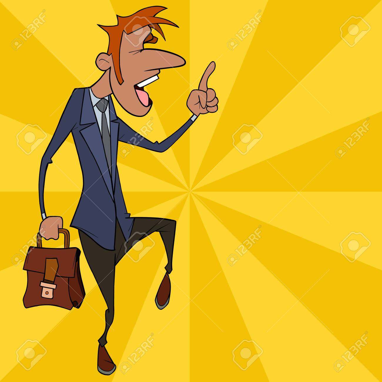 emotional cartoon man in suit with briefcase points index finger up - 147001607