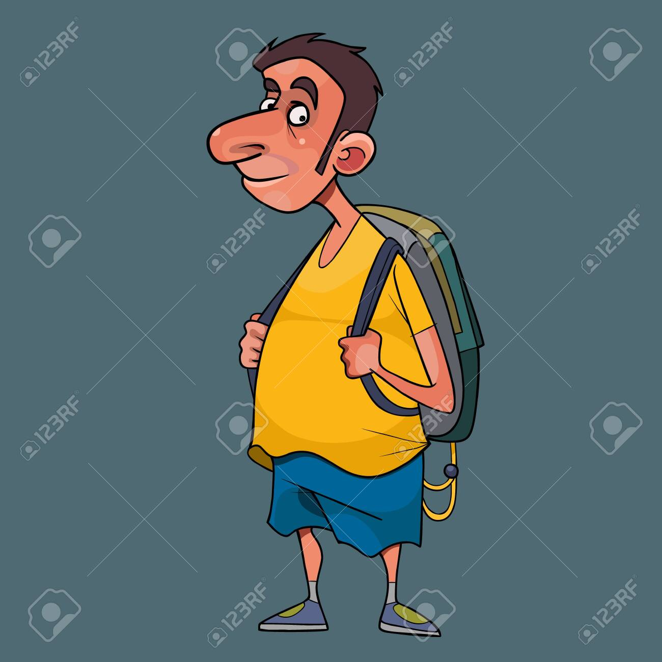 cartoon man in summer clothes with backpack - 147000341